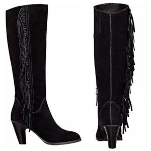 GUESS Tall Migal Mid Heel Fringe Suede Boots Sz 6